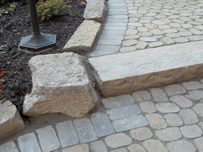 natural stones and interlock landscape curb appeal