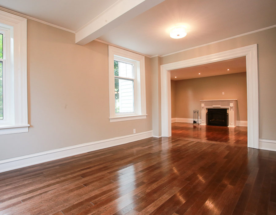 hardwood floors and fireplace