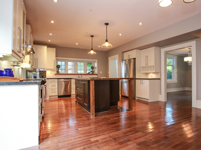 open concept kitchen with hardwood