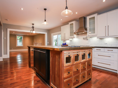 custom kitchen island with wood countertop